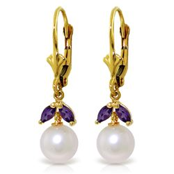 ALARRI 4.4 Carat 14K Solid Gold Love Me Amethyst Pearl Earrings