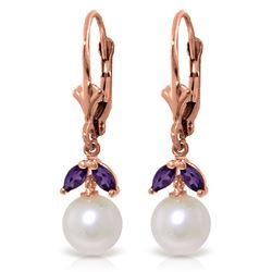 ALARRI 4.4 Carat 14K Solid Rose Gold Vibrance Pearl Amethyst Earrings