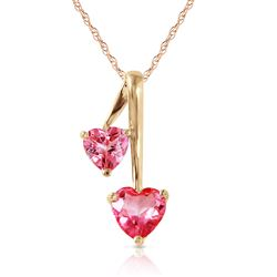 ALARRI 1.4 Carat 14K Solid Gold Hearts Necklace Natural Pink Topaz