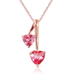 ALARRI 14K Solid Rose Gold Hearts Necklace w/ Natural Pink Topaz