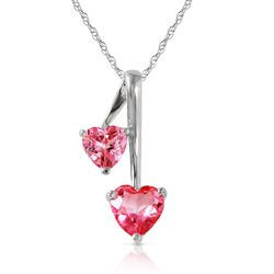 ALARRI 1.4 Carat 14K Solid White Gold Hearts Necklace Natural Pink Topaz