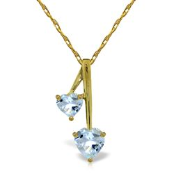 ALARRI 1.4 Carat 14K Solid Gold Hearts Necklace Natural Aquamarine