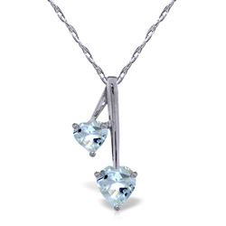 ALARRI 1.4 Carat 14K Solid White Gold Hearts Necklace Natural Aquamarine