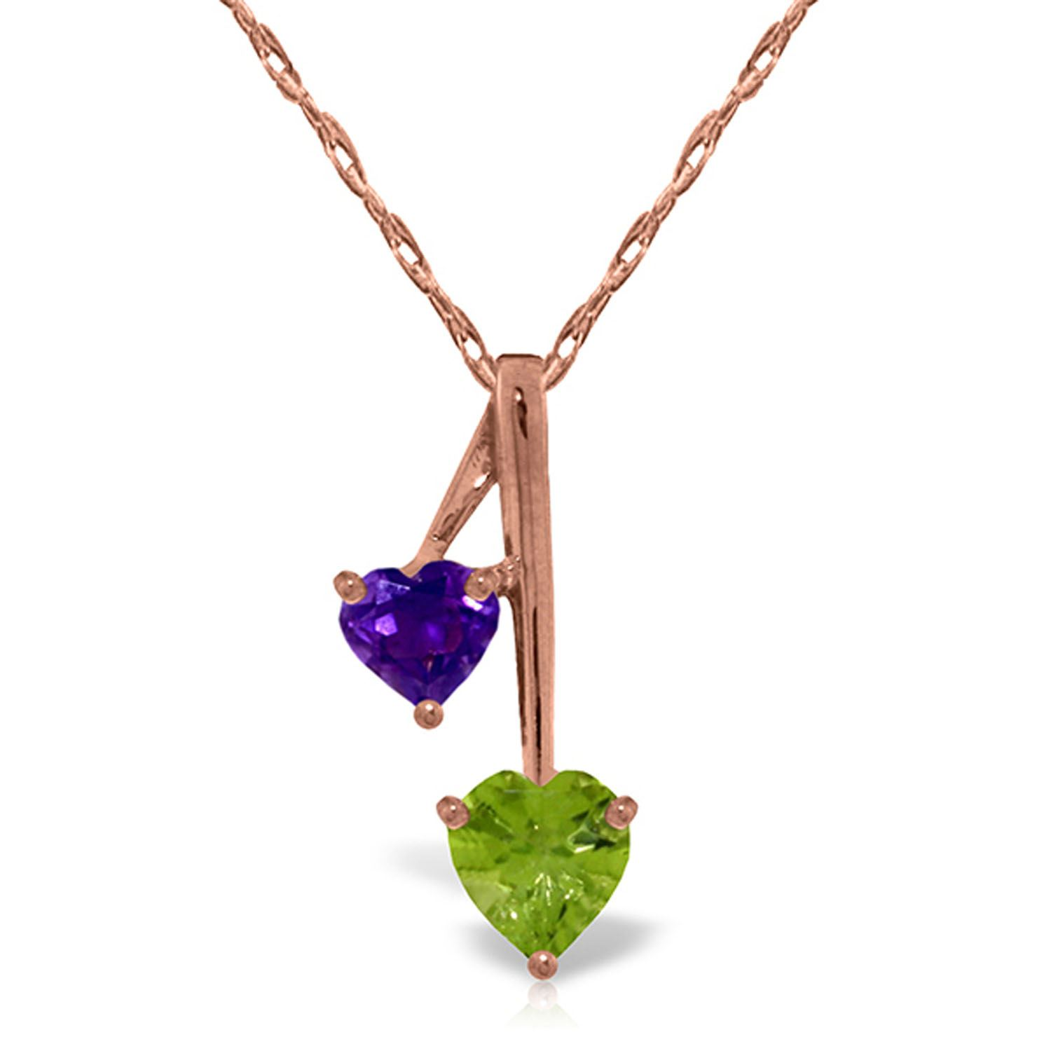 ALARRI 2 Carat 14K Solid Gold Necklace Purple Amethyst Peridot with 24 Inch Chain Length
