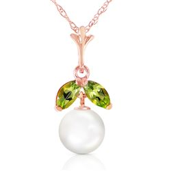 ALARRI 14K Solid Rose Gold Necklace w/ Natural Pearl & Peridot