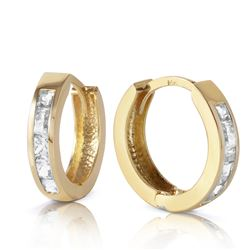 ALARRI 1.2 Carat 14K Solid Gold Hoop Huggie Earrings White Topaz