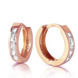 ALARRI 1.2 Carat 14K Solid Rose Gold Hoop Huggie Earrings Rose Topaz