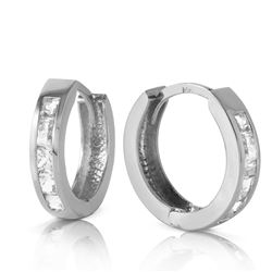 ALARRI 1.2 Carat 14K Solid White Gold Hoop Huggie Earrings White Topaz