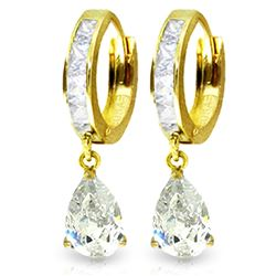 ALARRI 4.2 Carat 14K Solid Gold Huggie Earrings Dangling White Topaz