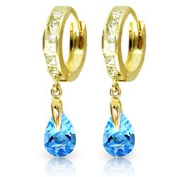 ALARRI 4.2 Carat 14K Solid Gold Huggie Earrings White Topaz Blue Topaz