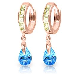 ALARRI 4.2 Carat 14K Solid Rose Gold Huggie Earrings Rose Topaz Blue Topaz