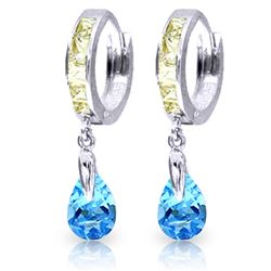ALARRI 4.2 Carat 14K Solid White Gold Huggie Earrings White Topaz Blue Topaz