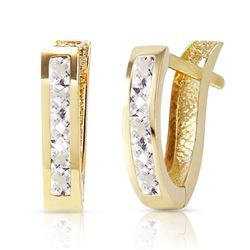 ALARRI 1.2 Carat 14K Solid Gold Oval Huggie Earrings White Topaz