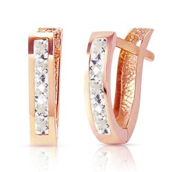 ALARRI 1.2 Carat 14K Solid Rose Gold Oval Huggie Earrings Rose Topaz
