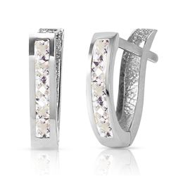 ALARRI 1.2 CTW 14K Solid White Gold Oval Huggie Earrings White Topaz