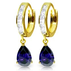 ALARRI 4.55 Carat 14K Solid Gold Hoop Earrings White Topaz Sapphire