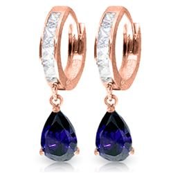 ALARRI 4.55 Carat 14K Solid Rose Gold Hoop Earrings Rose Topaz Sapphire