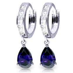 ALARRI 4.55 Carat 14K Solid White Gold Hoop Earrings White Topaz Sapphire