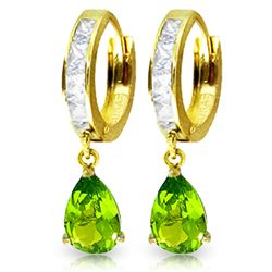 ALARRI 3.9 CTW 14K Solid Gold Huggie Earrings White Topaz Peridot