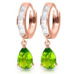 ALARRI 3.9 Carat 14K Solid Rose Gold Huggie Earrings Rose Topaz Peridot