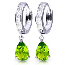 ALARRI 3.9 Carat 14K Solid White Gold Huggie Earrings White Topaz Peridot
