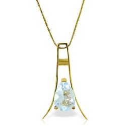 ALARRI 1.5 Carat 14K Solid Gold Walking In Rain Aquamarine Necklace