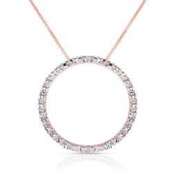 ALARRI 14K Solid Rose Gold Diamonds Circle Of Love Necklace