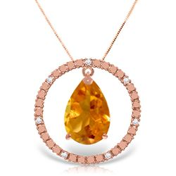 ALARRI 14K Solid Rose Gold Diamonds & Citrine Circle Of Love Necklace