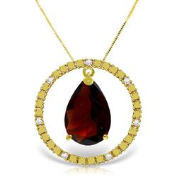 ALARRI 6.6 Carat 14K Solid Gold Diamond Garnet Circle Of Love Necklace