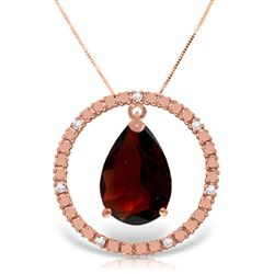ALARRI 14K Solid Rose Gold Diamonds & Garnet Circle Of Love Necklace