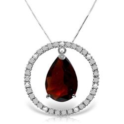 ALARRI 6.6 Carat 14K Solid White Gold Diamond Garnet Circle Of Love Necklace