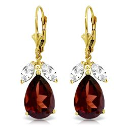 ALARRI 13 Carat 14K Solid Gold Leverback Earrings Garnet White Topaz