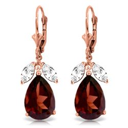 ALARRI 13 Carat 14K Solid Rose Gold Leverback Earrings Garnet Rose Topaz