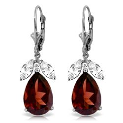 ALARRI 13 CTW 14K Solid White Gold Leverback Earrings Garnet White Topaz