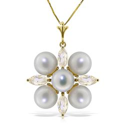 ALARRI 6.3 CTW 14K Solid Gold Necklace White Topaz Pearl