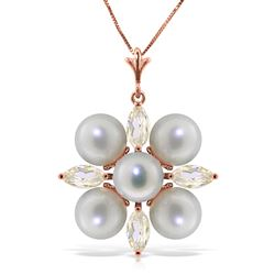 ALARRI 6.3 CTW 14K Solid Rose Gold Necklace Rose Topaz Pearl