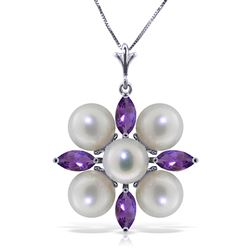 ALARRI 6.3 Carat 14K Solid White Gold Loving Embrace Amethyst Pearl Necklace