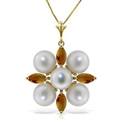 ALARRI 6.3 Carat 14K Solid Gold No Hesitation Citrine Pearl Necklace