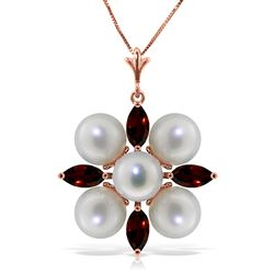 ALARRI 6.3 CTW 14K Solid Rose Gold Snowflake Pearl Emerald Necklace