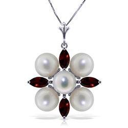 ALARRI 6.3 Carat 14K Solid White Gold Sky's The Limit Garnet Pearl Necklace