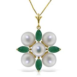 ALARRI 6.3 Carat 14K Solid Gold It Takes Two Emerald Pearl Necklace