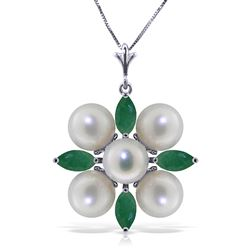 ALARRI 6.3 Carat 14K Solid White Gold This Is Perfect Emerald Pearl Necklace