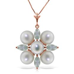 ALARRI 6.3 Carat 14K Solid Rose Gold Necklace Aquamarine Pearl