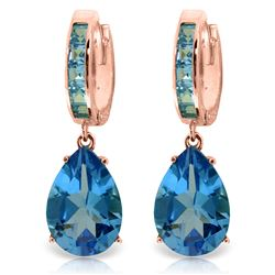 ALARRI 13.2 Carat 14K Solid Rose Gold Blue Topaz Hoop Drop Earrings