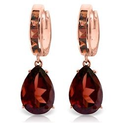 ALARRI 13.2 Carat 14K Solid Rose Gold Garnet Hoop Drop Earrings