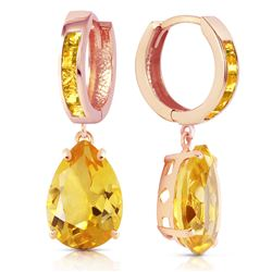 ALARRI 13.2 Carat 14K Solid Rose Gold Citrine Hoop Drop Earrings