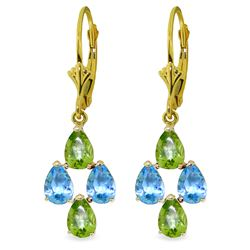 ALARRI 4.5 Carat 14K Solid Gold First Love Blue Topaz Peridot Earrings