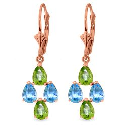ALARRI 4.5 CTW 14K Solid Rose Gold Blue Topaz Peridot Spring Earrings