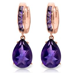 ALARRI 13.2 Carat 14K Solid Rose Gold Amethyst Hoop Drop Earrings