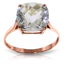 ALARRI 3.6 Carat 14K Solid Rose Gold Ring Natural Checkerboard Cut White Topaz